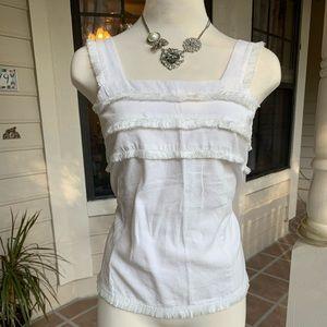 LOFT white fringe top